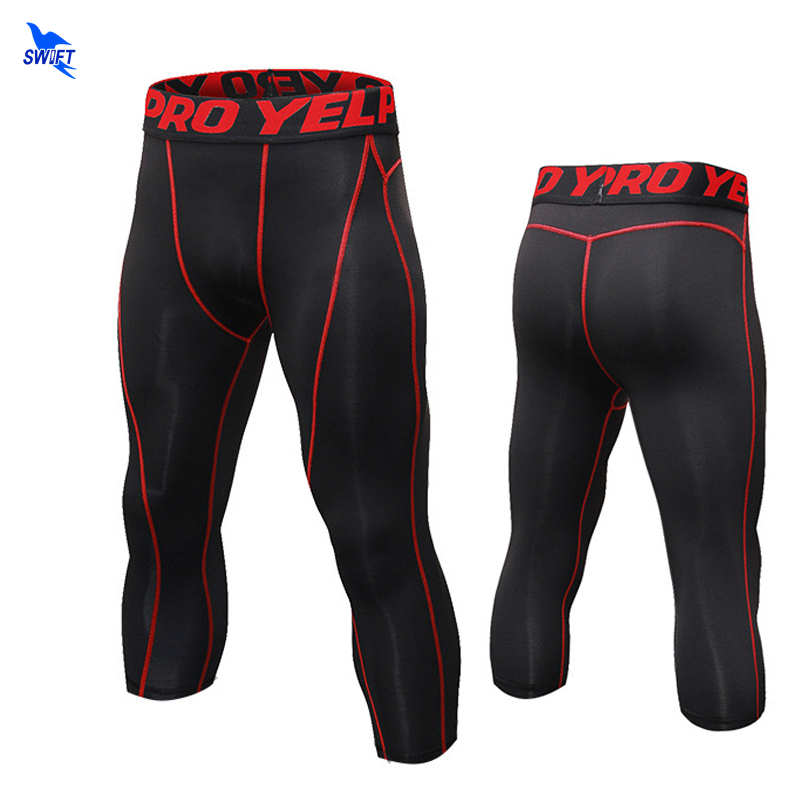 Capri Yoga Leggings Men High Elasticity Sports Cropped Pants Quick Dry Gym Running Fitness Skin Tights MMA Compression Pants 3/4 цена