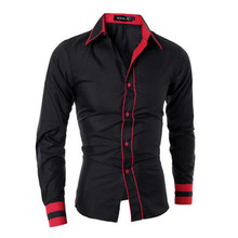Men Fashion Patchwork Single Breasted Shirts,Long Sleeve Mixed Color Casual Cotton Breathable Comofortable Shirts Camisa