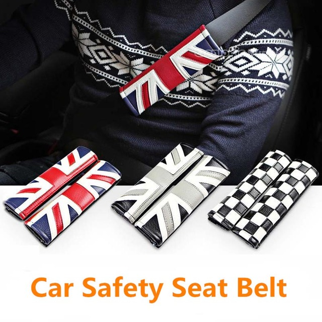 1 pair pu leather car safety seat belt covers UK flag printed seat ...