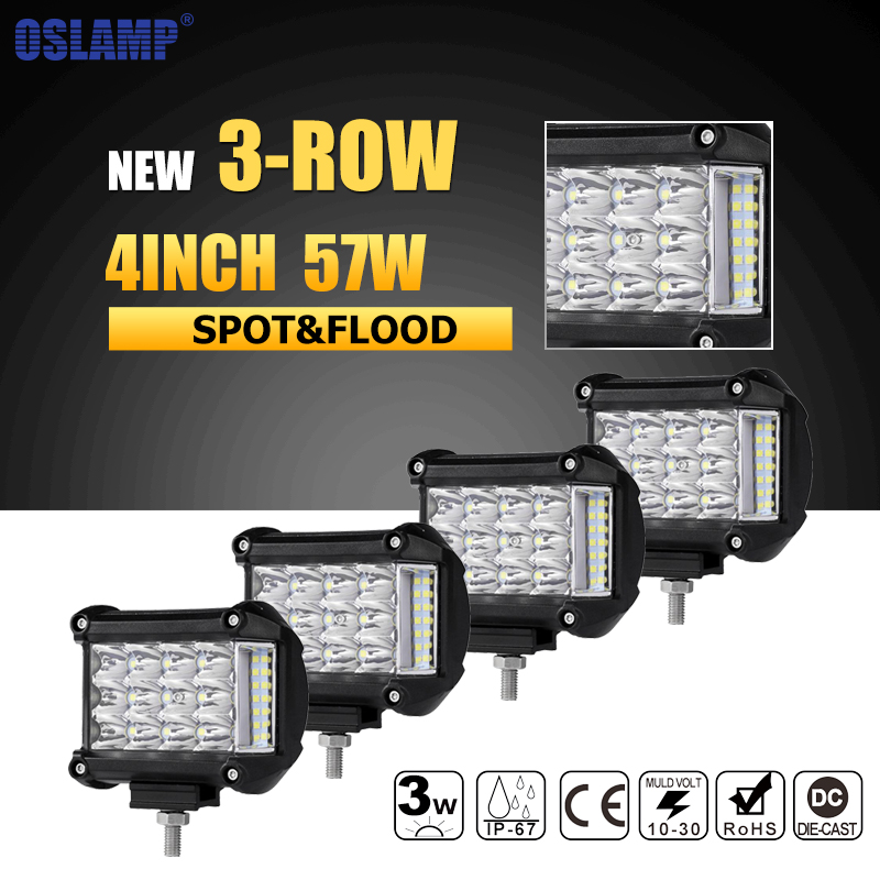 Oslamp 4pcs 4inch Spot Flood Beam LED Work Light Offroad Led Bar Truck SUV ATV 4x4 4WD Boat 12v 24v Led Driving Lamp Headlights auxmart spot beam flood beam 4inch 7 led work light offroad tractor truck 4x4 suv atv motorcycle headlight fog lamps 12v 24v