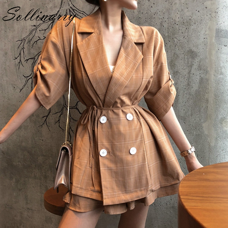 Sollinarry Loose Short Blazer Suits Women Jacket Coat Sets 2019 New Fashion OL Short Sleeve Casual Suits Plaid Retro Sets Femal