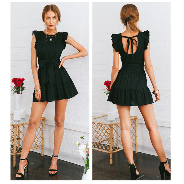 BornToGirl 2020 Spring Summer Sexy Dress Women Sleeveless Round Neck Black Ruffles Dress robe femme