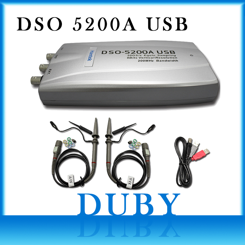 Hantek DSO5200A 200MHz 2CH PC USB Digital Storage Oscilloscope 250MS/s Hantek DSO 5200A Free DHL new dso5200 digital virtual oscilloscope hantek dso 5200 portable oscilloscope usb 200mhz 250ms s 2 channel