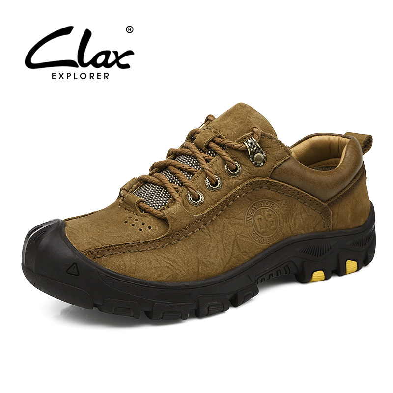 CLAX Men safety shoes Genuine Leather Spring Autumn Casual Leather Shoe Mens Work Boots Ankle Boot Soft Walking Footwear clax men ankle boots 2017 autumn casual shoes for male leather work shoe safety british style oxford fashion footwear