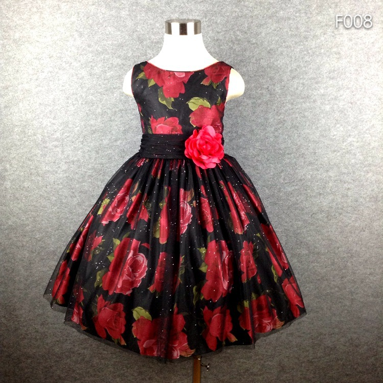 Brand Girl Party Dress Black Tutu Flower Print BIg Bow Summer Dress For Girls 4-16 Hot button up flower print dress