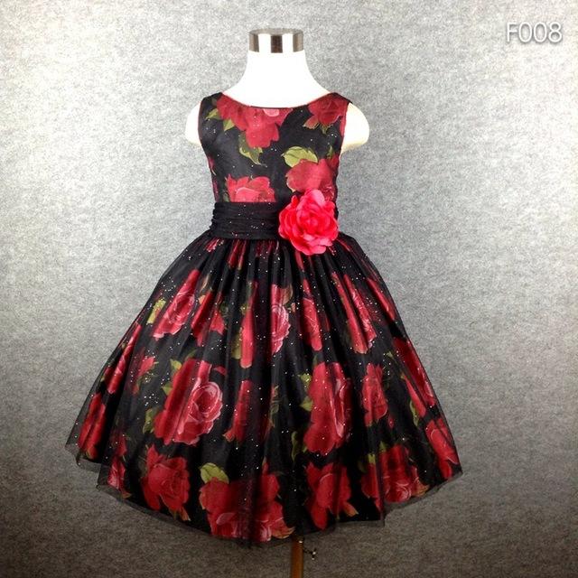 La Muchacha de La marca Vestido de Fiesta Tutú Negro Estampado de Flores Arco Grande Vestido de Verano Para Niñas 4-16 Caliente