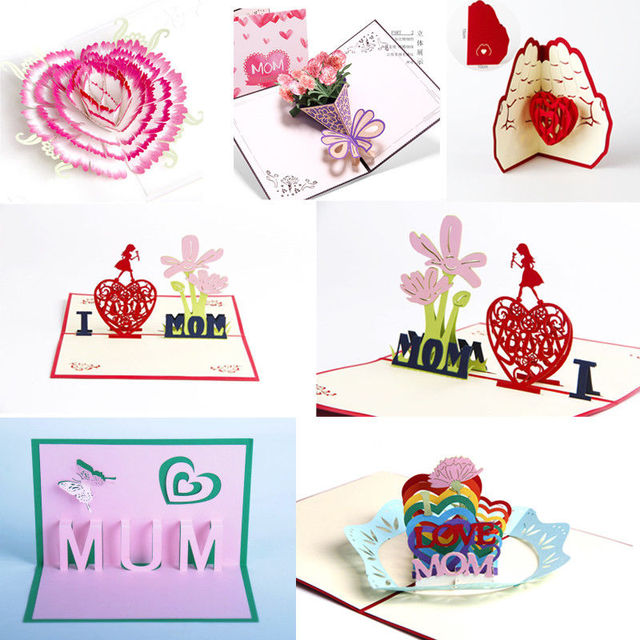 DIY Creative Craft 3D Pop Up Greeting Cards Birthday Mothers Day Carnation Flower Heart Moms Love Gifts Best Wishes