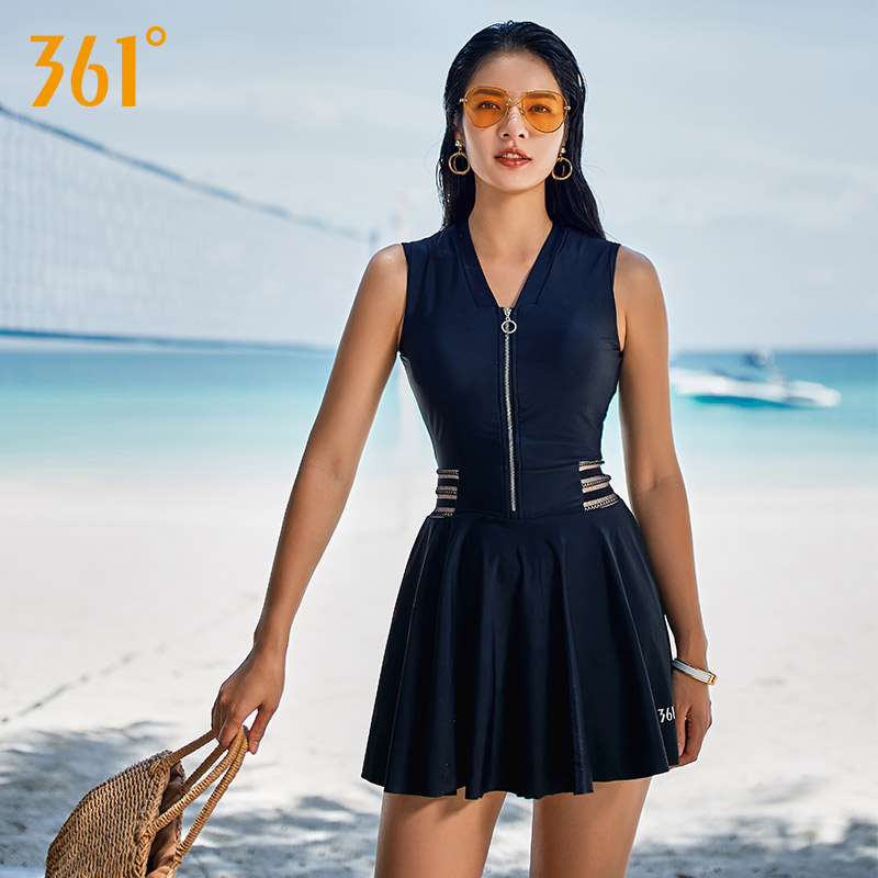 361 Swimsuit One Piece Women 2018 Plus Size Conservative Swimwear Skirt Ladies Swimwear Dress Black Bathing Suit Zipper Bather