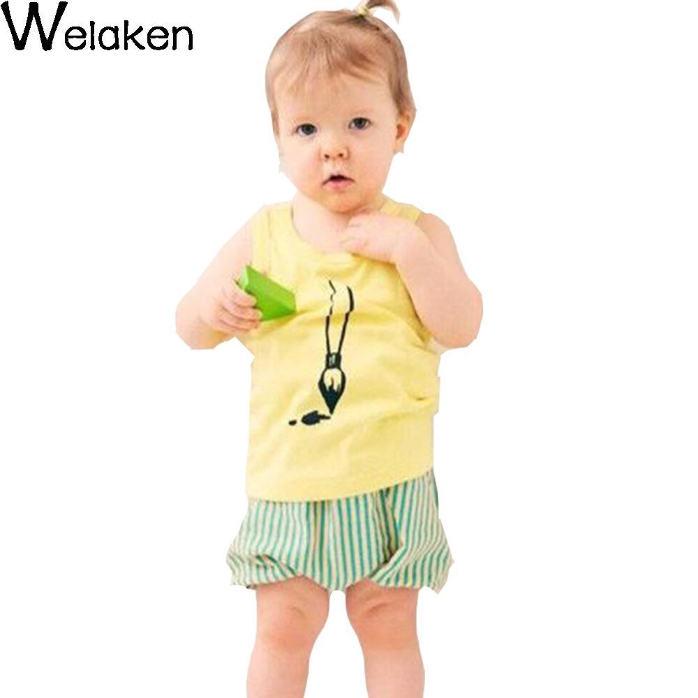 New Fashion 2016 Children T Shirt Baby Boy Girl Clothes Sleeveless Writing Brush Print Infant Vest