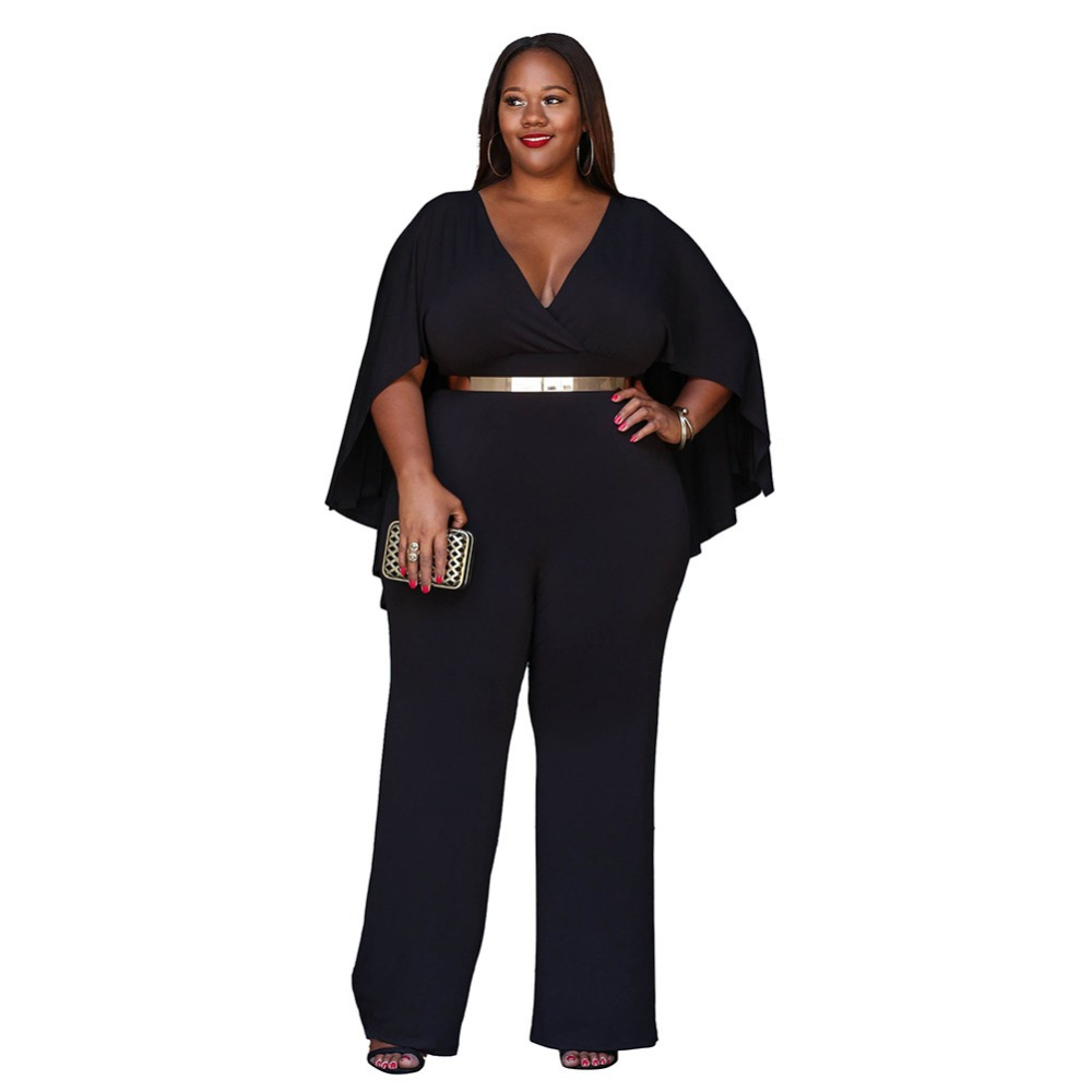 Plus Size Enteritos Mujer Sexy Women Batwing Sleeve V Neck One Piece Jumpsuit High Waist Wrap Long Pant Loose Rompers 3XL