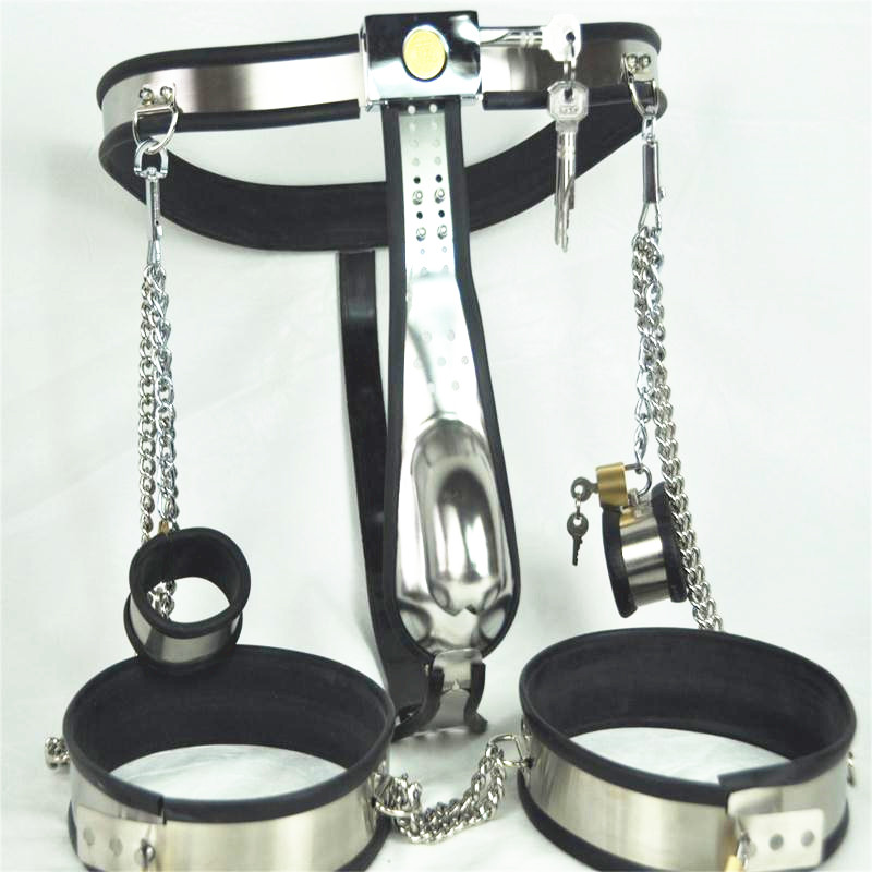 Stainless Steel Male Chastity Belt with Handcuffs Anal Plug Chastity Lock Virginity Pants Chastity Device Men's Sex Toys G7-4-32 stainless steel male chastity belt chastity pants with penis lock anal plug adults bdsm bondage chastity device g7 4 35