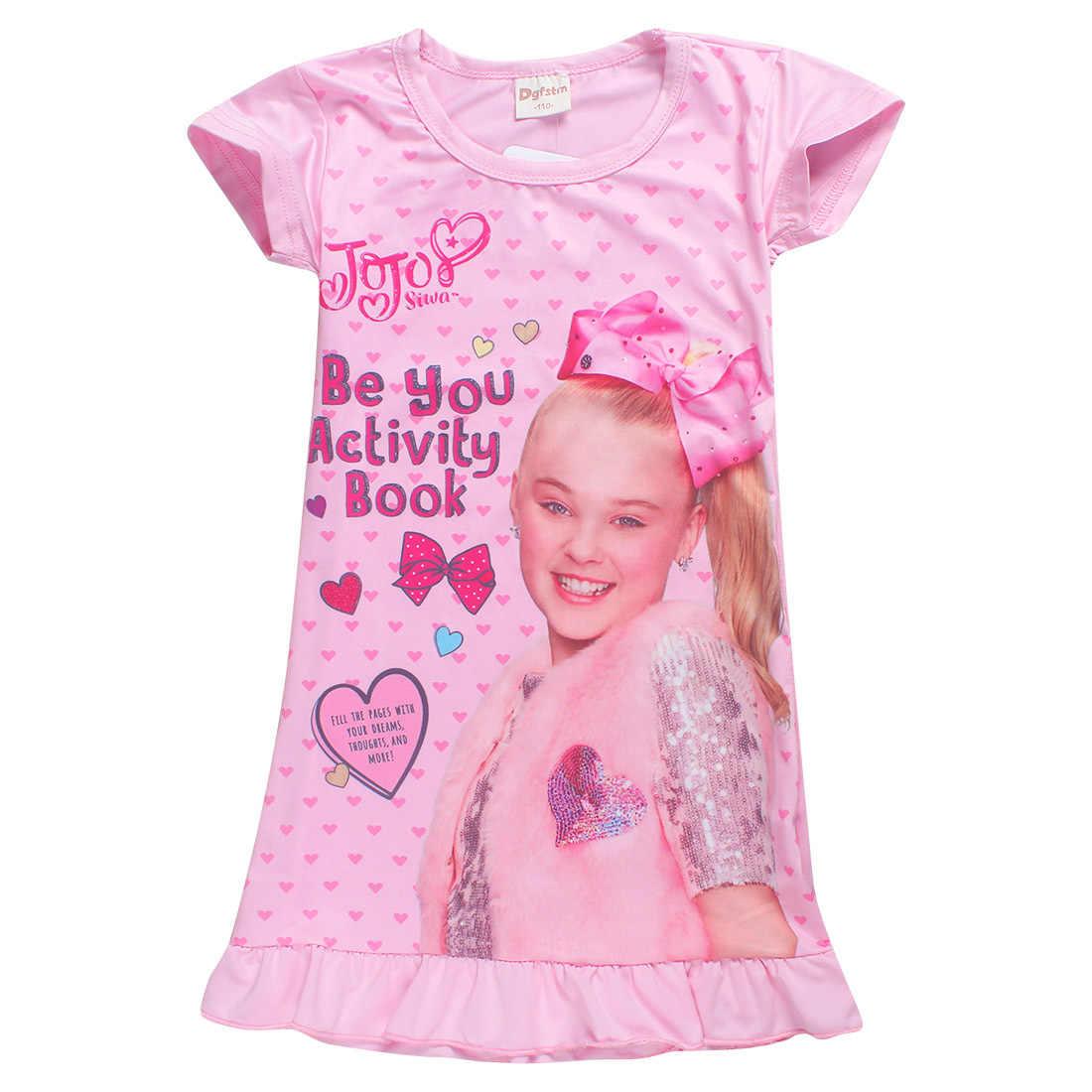 New Summer Jojo Siwa Dresses For Girls Dress Kids Clothes Sleepwear Princess Birthday Party Hair Bow