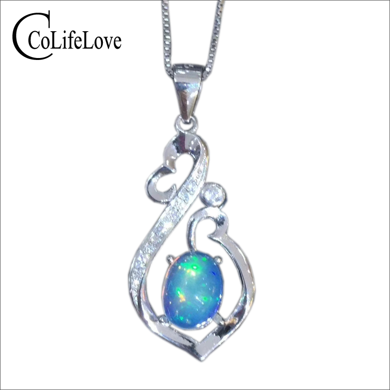 Fashion silver opal necklace pendant 6 mm * 8 mm natural opal  pendant for party 925 silver opal jewelry romantic gift for wifeFashion silver opal necklace pendant 6 mm * 8 mm natural opal  pendant for party 925 silver opal jewelry romantic gift for wife
