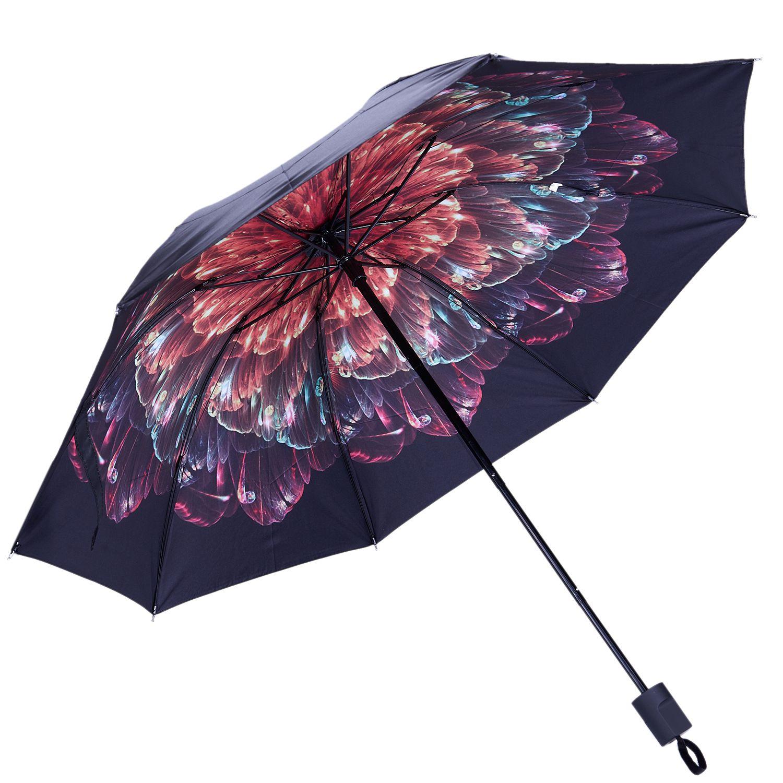 Sunny woman's umbrellas black coating female umbrella sunshade flower folding umbrella ladies parasol