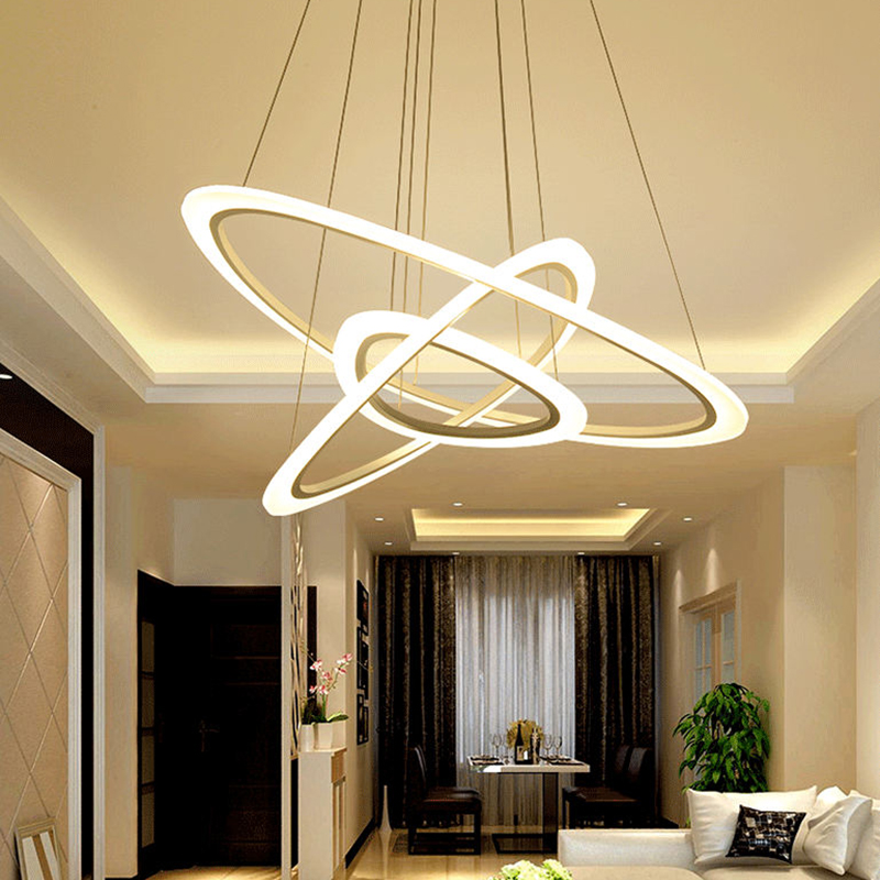 modern led lustre chandelier luxury ring living room led lamp arc triangle hanging lighting. Black Bedroom Furniture Sets. Home Design Ideas