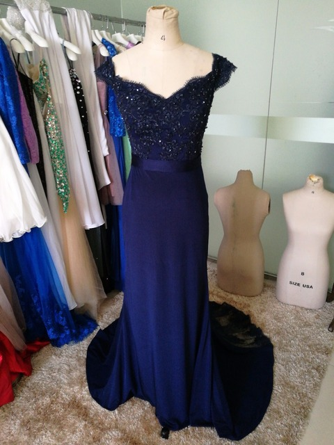 Elegant Blue Off the Shoulder Lace Wedding Party Dress Mermaid Sweep Train  Bridesmaid Dresses 556536f882e4