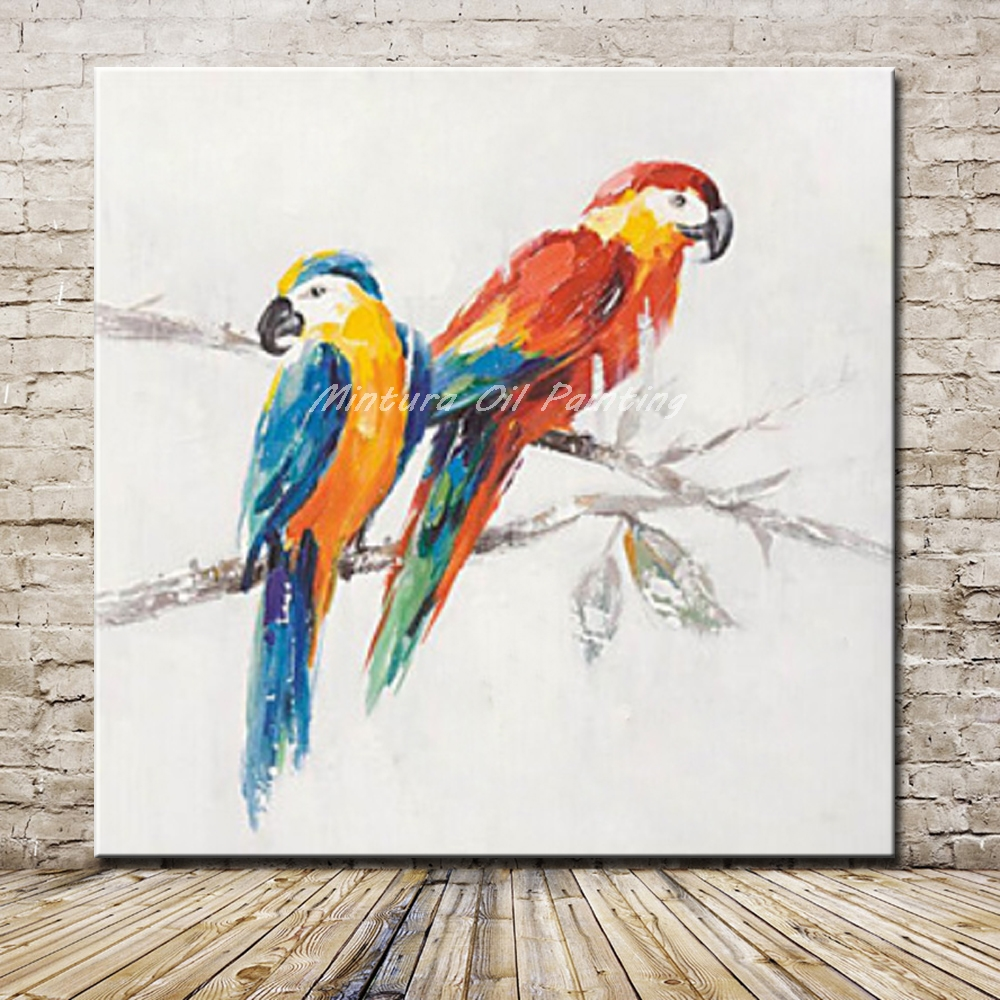Mintura Pictures Hand Painted Parrots Animal Oil Painting On Canvas Home Decoration For Living Room Modern Wall Picture Artwork thumbnail