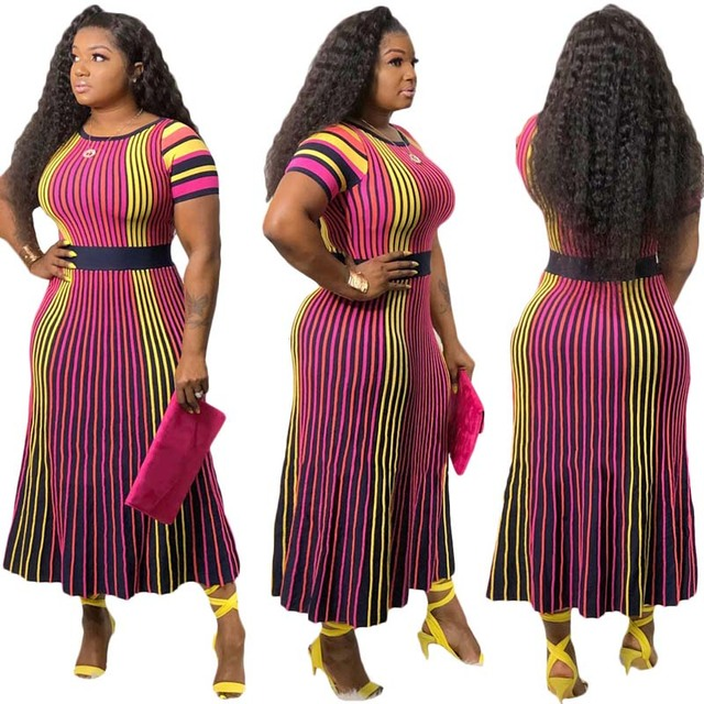 Africa Clothing Multicolor Striped Printed Long Dress