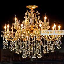 Королевский 15 шт. золото отель люстры для гостиной K9 Кристалл Алюминий потолочный Люстра вилла лампада E14 светодиодные свечи