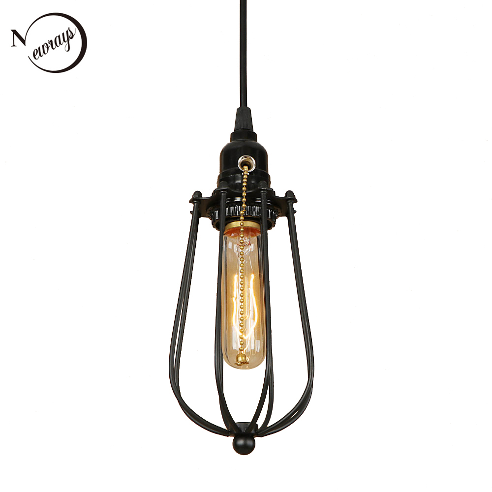 Retro iron black cage pendant light LED E27 industrial modern hanging lamp for kitchen restaurant bedroom office loft lobby shopRetro iron black cage pendant light LED E27 industrial modern hanging lamp for kitchen restaurant bedroom office loft lobby shop