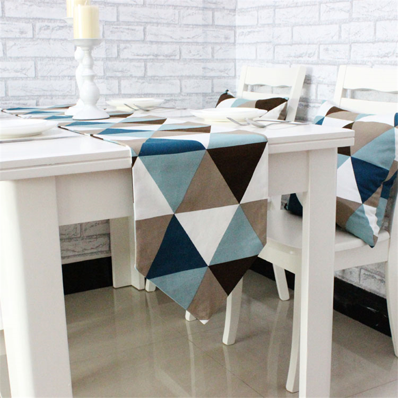 Modern Simplicity Style Colorful Triangular Pattern 100 Cotton Table Runner Soft Decorative Cloth For Hotel Home In Runners From