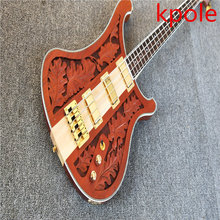 Factory push! High – grade bayes carved elm, maple – wood, 4 – string electric bass, wholesale