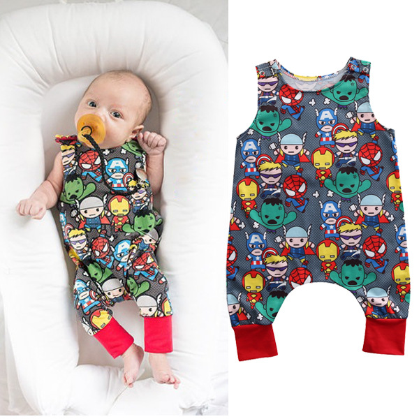 2018 Summer Baby Boy   Romper   Children boys overalls clothing cotton infant baby girls clothes Super Heroes jumpsuit outfit