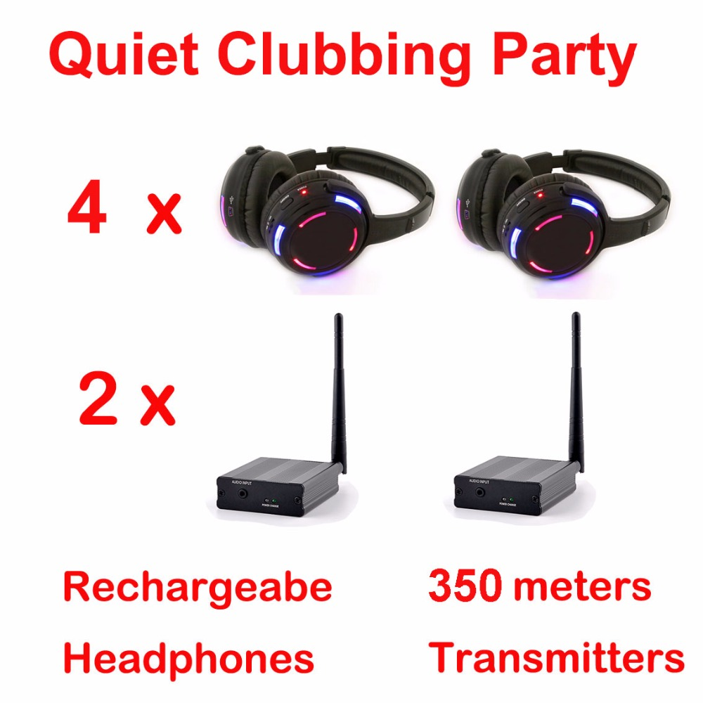 Silent Disco complete system led wireless headphones – Quiet Clubbing Party Bundle (4 Headphones + 2 Transmitters)