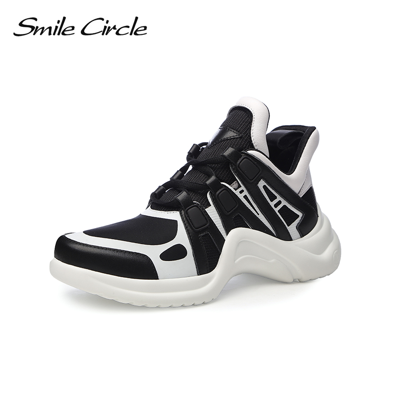 Smile Circle 2018 Spring Genuine Leather Casual Sneakers Women Fashion Rhinestone Breathable Lace-up Flat Shoes Girl Shoes