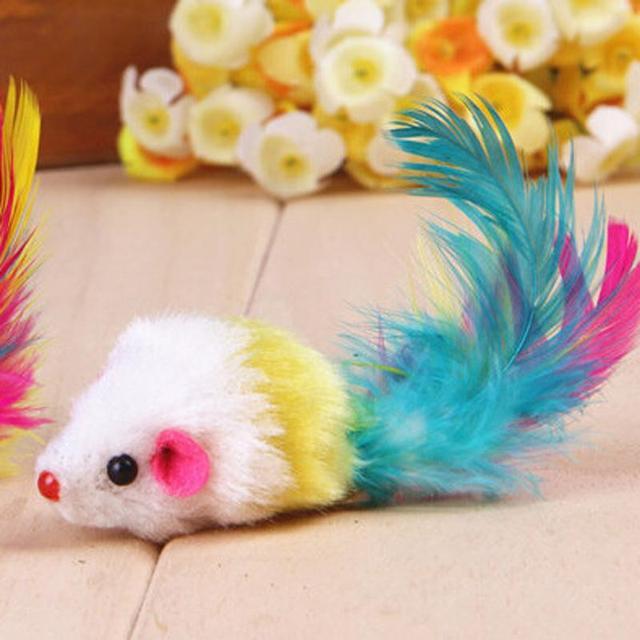Товари Для тварин Для Кішок Іграшки Cat Pet Забавні Іграшки, Барвисті Миші Форма З Пером Conejos Mascota