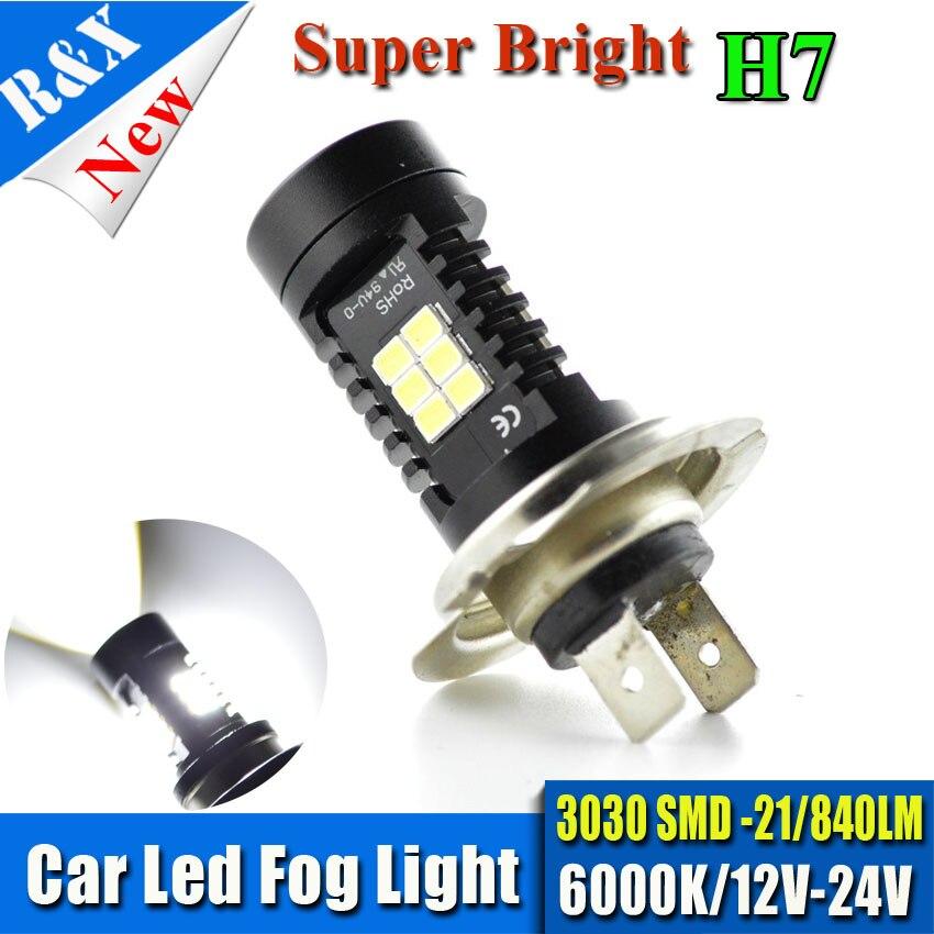1piece 840LM Samsung 3030chip 21LED Chip H7 Fog Lamp 12-24V Car Daytime Driving Lights Universal High Power LED Bulb 6000K White