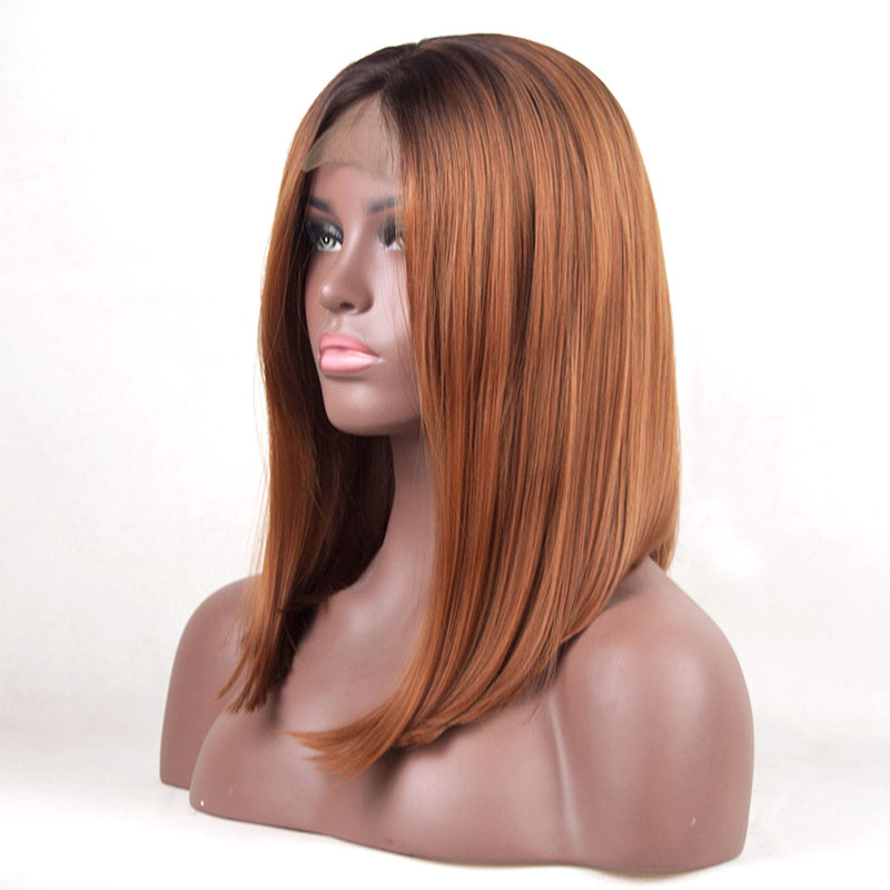 Bombshell Dark Roots Color 4 Ombre Brown 30 Short Bob Synthetic Lace Front Wigs Dark Roots