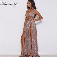 NATTAMAID Sexy Sleeveless Sequined Long Dress Side Split Backless Shift Beach Wedding Maxi Dress Summer Party