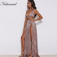 NATTAMAID Sexy Sleeveless Sequined Long Dress Side Split Backless Shift Beach Wedding Maxi Dress Summer Party