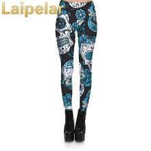 New Fashion Women Leggings Fitness 3D Skull&flower Digital Print Pant Trousers Stretch Legging For Woman Plus Size 4XL