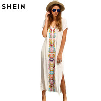 SheIn Summer Beach Long Dresses For Women White Embroidery V Neck Short Sleeve Placement Print Split