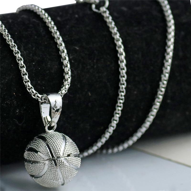 3D Basketball Halsketten Silber Farbe Anhänger Sport Hip Hop Schmuck - Modeschmuck - Foto 2
