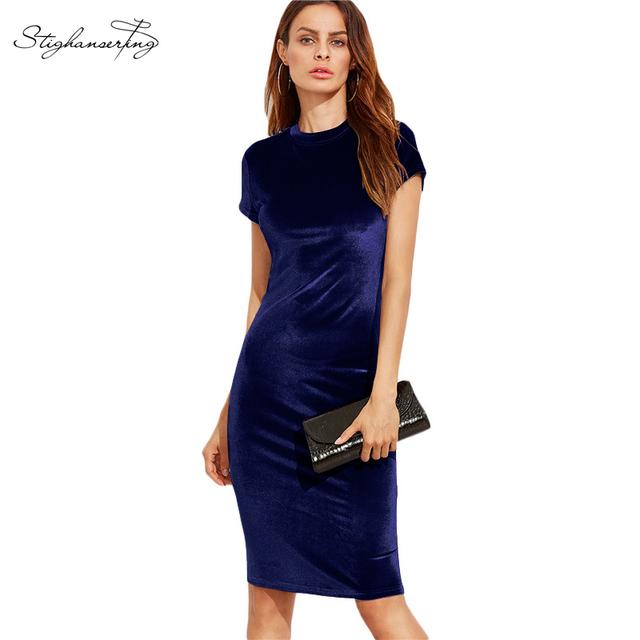 4 colores 2017 mujeres velvet dress vendimia de las señoras vestidos de verano de manga corta del o-cuello longitud de la rodilla elegante vestidos del lápiz