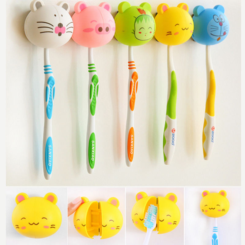 Cute Various Cartoon Animal Head Toothbrush Holder stand with Wall Suction Cup image