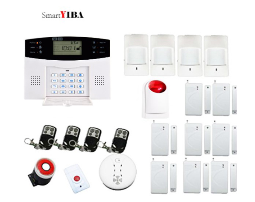 SmartYIBA Home Security GSM Alarm System SMS Calling House Burglar Intruder Auto Dial with Motion Sensor Door Sensor PIR Sensor SmartYIBA Home Security GSM Alarm System SMS Calling House Burglar Intruder Auto Dial with Motion Sensor Door Sensor PIR Sensor