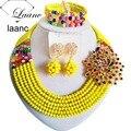Amarillo opaco Multicolor Mujeres Traje Nigeriano Beads Africanos Joyería Conjunto ABF800 Granos Cristalinos de La Joyería Fija El Envío Libre