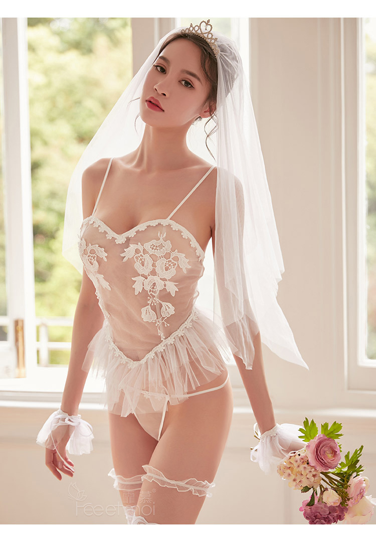 Role Play Erotic Lingerie Women White Bride Wedding Dress Sexy Lingerie Temptation Babydoll Chemise Cosplay Bedroom swimsuit