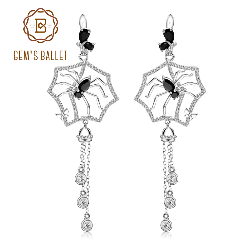 GEM S BALLET Spider Black Spinel Long Earrings 925 Sterling Sliver Vintage Gothic Punk Drop Earrings
