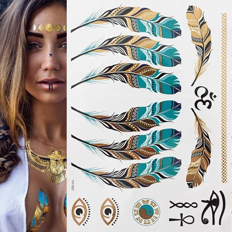1 лист блестящих металлических золотых перьев в стиле бохо, блестящие ювелирные украшения, праздничная временная татуировка