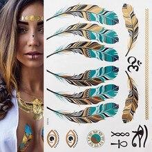 1 folha de flash boho metálico de ouro, penas brilhantes, joias, festival, tatuagem temporária