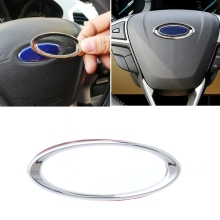 3D Creative Chrome Steering Wheel Sticker For Ford Fiesta Ecosport Kuga Escape Focus Mondeo steering wheel cover for ford mondeo mk4 2007 2012 s max 2008 ford focus 3 2015 2018 kuga 2016 2018 custom made steering braid