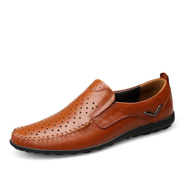 Mens Genuine Leather Loafer Shoes With Breathable Holes Casual Sneakers