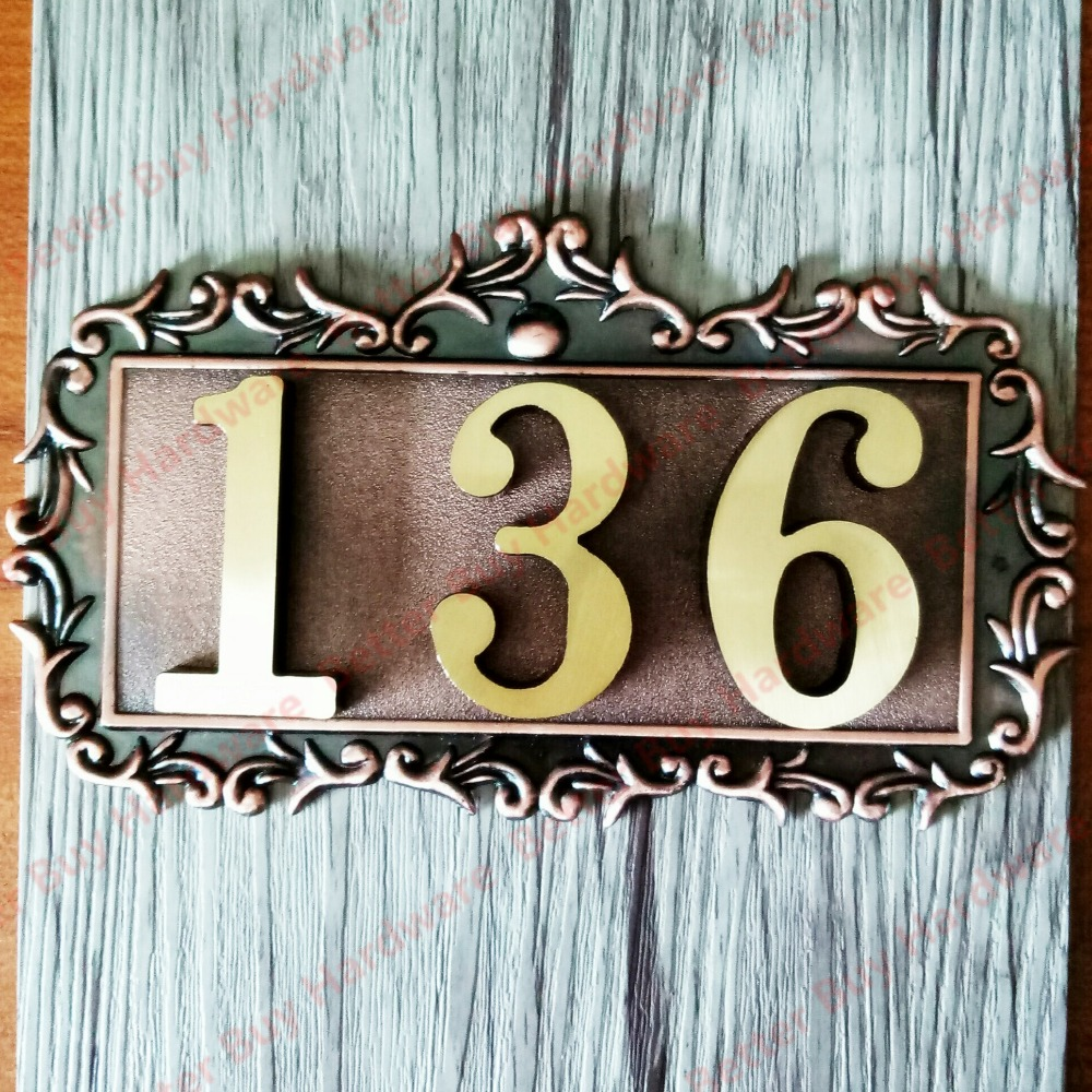 3 Characters New classical European Style Pure copper house number card Villa apartment number 3 digits new classical european style pure copper house number card villa apartment number four digits free shipping