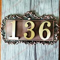 3 Characters New classical European Style Pure copper house number card Villa apartment number