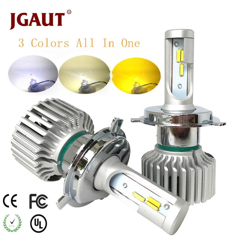 JGAUT Car LED Light Headlamp H7 H4 LED Bulb H1 H3 H8 H11 9005 9006 880 9012 3Colors Headlight Kit 3000K 4300K 6000K 9600LM Dual vehigo 72w cob h7 h1 h4 h3 h11 h8 9005 9006 9007 9012 880 c6 led bulb headlamp light golden car headlight bulbs 3000k 6000k lamp
